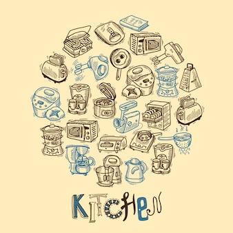 Esboço de equipamento de cozinha