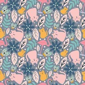 Esboço de esboço de animais e folhas de gato com ícones e cores de elementos de design