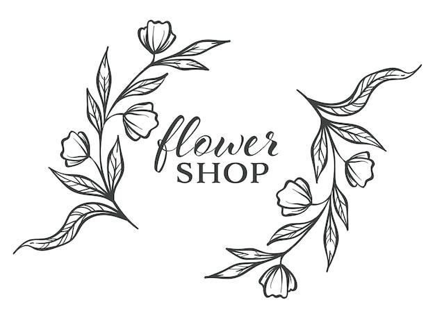 Esboço de esboço monocromático de floricultura loja de flores, banner de ervas isolado com flora e inscrição caligráfica
