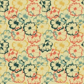 Esboço de flor abstrato colorido vintage padrão