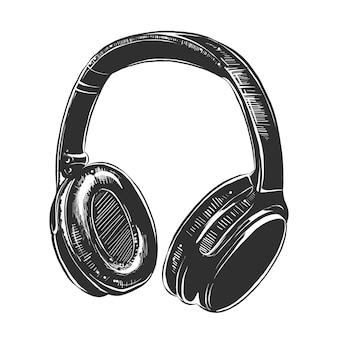 Esboço de fones de ouvido em preto e branco