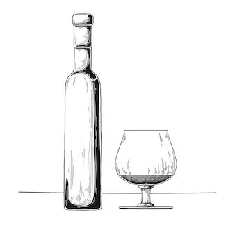 Esboço de garrafa de álcool desenhado de mão