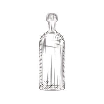 Esboço de garrafa de vidro de álcool desenhado de mão isolado no fundo branco. frasco de vidro de vodka vintage. estilo de gravura. para cardápio, cartões, pôsteres, impressões, embalagens. ilustração vetorial