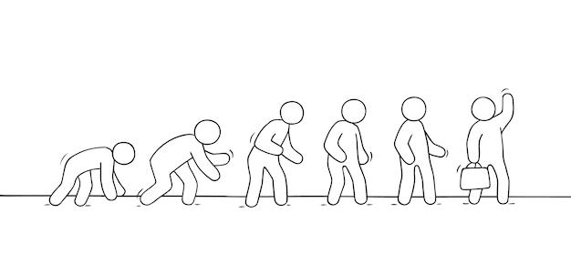 Esboço de gente pequena que trabalha. doodle uma cena em miniatura fofa sobre a evolução.