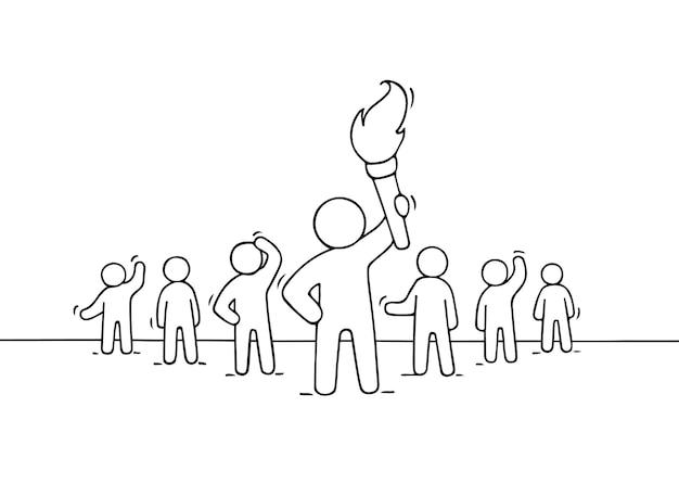 Esboço de gente pequena que trabalha e líder com tocha. desenho animado desenhado à mão