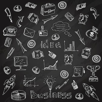 Esboço de giz de lousa de ícones de estratégia de negócios