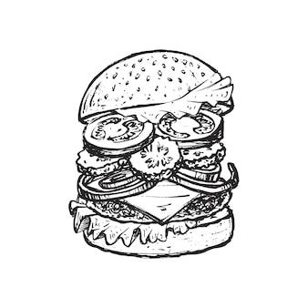 Esboço de hambúrguer para o menu do restaurante.