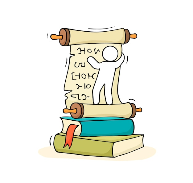 Esboço de homenzinho com pilha de livros. ilustração em vetor desenho animado desenhado à mão