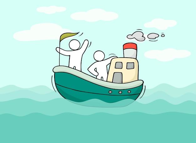 Esboço de homenzinhos navegar de barco.