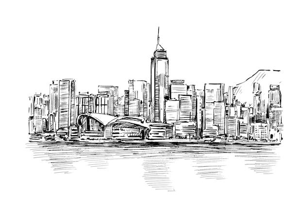 Esboço de hong kong paisagem urbana desenhado à mão