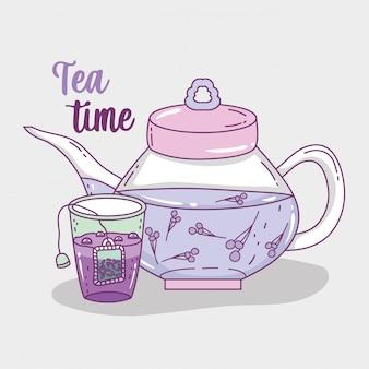Esboço de hora do chá plana