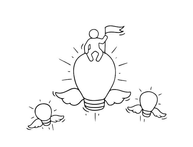 Esboço de idéias de lâmpada voadora. doodle fofa cena em miniatura de trabalhador criativo
