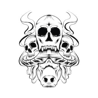 Esboço de ilustração assustador de cabeça de búfalo e crânio
