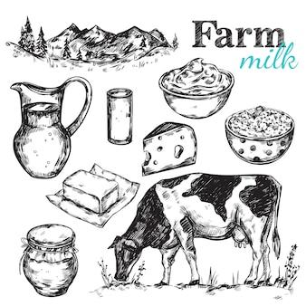 Esboço de leite de vaca e natureza