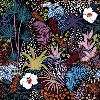Esboço de mão colorido sem costura tropical escuro verão