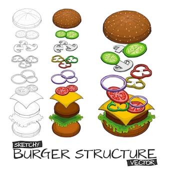 Esboço de mão de vetor com cor de hambúrguer e componentes