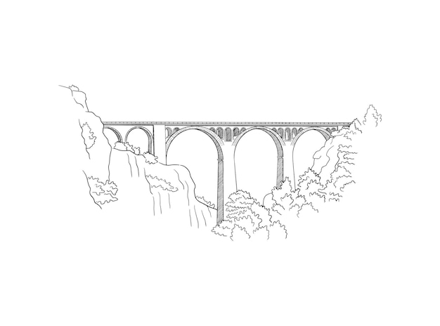 Esboço de mão desenhado da ponte ferroviária de varda na cidade de adana, na turquia.