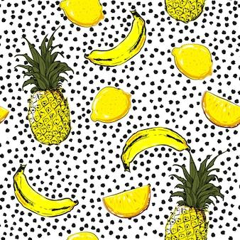 Esboço de mão na moda e fresco frutas de verão limão