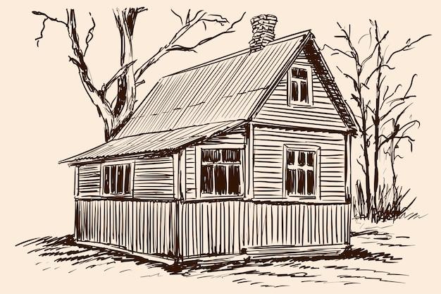 Esboço de mão sobre um fundo bege. antiga casa de madeira rústica e árvore perto da construção.