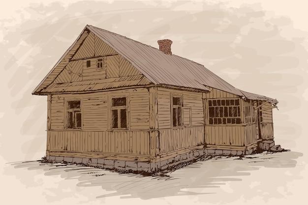 Esboço de mão sobre um fundo bege. antiga casa de madeira rústica sobre uma fundação de pedra com telhado de telhas.