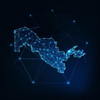 Esboço de mapa do uzbequistão com quadro abstrato de estrelas e linhas.