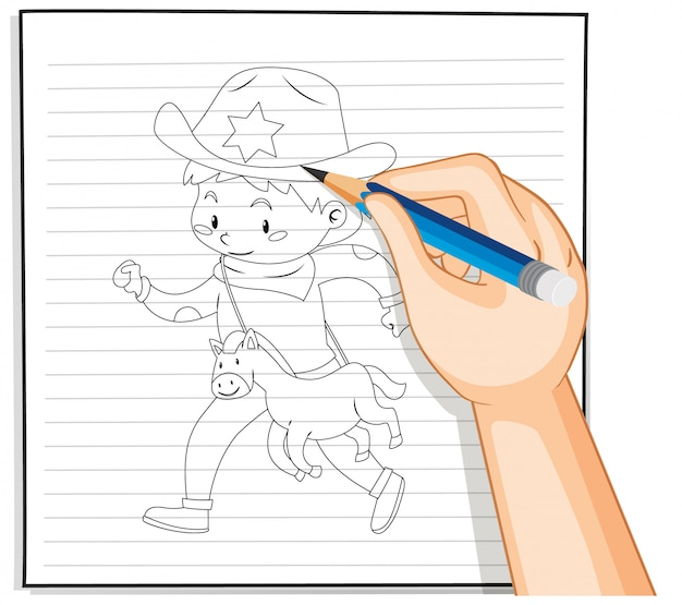Esboço de menino desenho mão