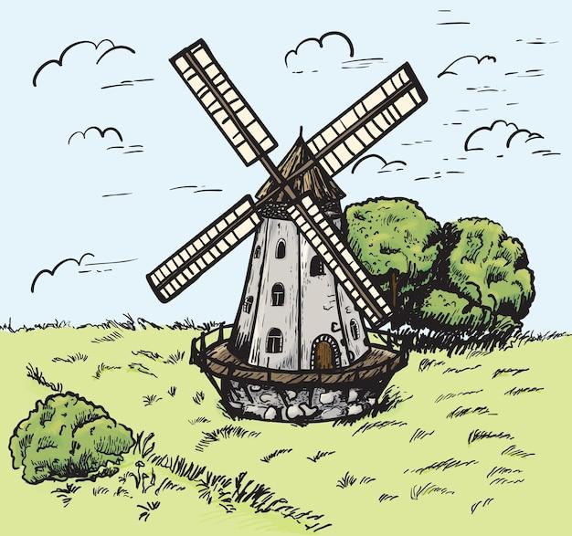 Esboço de moinho desenhado à mão