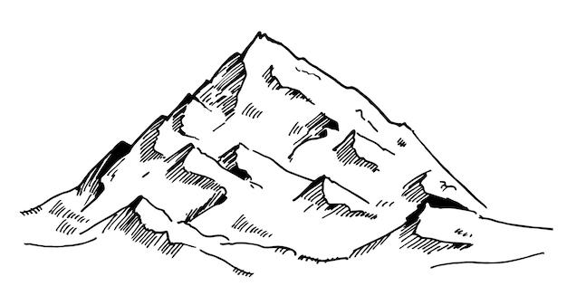 Esboço de montanhas pretas desenhadas em um fundo branco. vetor de design de logotipo de montanha simples e moderna