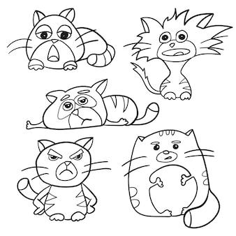 Esboço de página para colorir de gatos fofos dos desenhos animados. livro de colorir para crianças - conjunto e cinco gatinhos