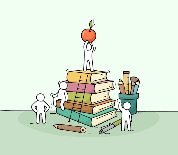 Esboço de papel de carta com pessoas pequenas que trabalham doodle uma miniatura fofa da pilha de livros