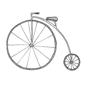 Esboço de penny-farthing. bicicleta isolada no fundo branco.