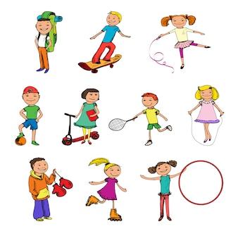 Esboço de personagens de crianças colorido