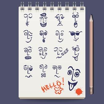 Esboço de personagens de rostos