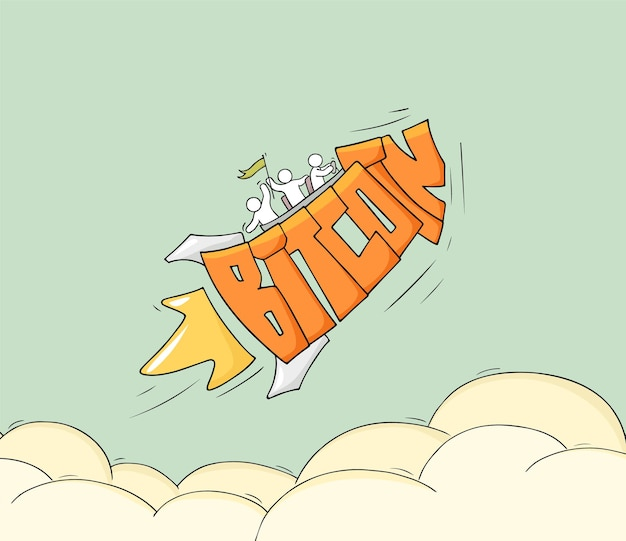 Esboço de pessoas pequenas com a palavra bitcoin de mosca. doodle uma cena em miniatura fofa sobre criptomoeda. mão-extraídas ilustração vetorial dos desenhos animados.
