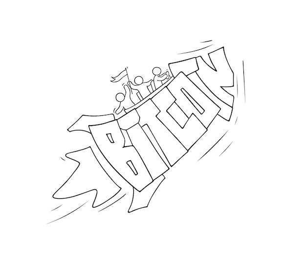Esboço de pessoas pequenas com a palavra bitcoin doodle fofa cena em miniatura sobre criptomoeda