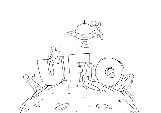 Esboço de pessoas pequenas com a palavra ufo. doodle uma cena em miniatura fofa sobre o cosmos. mão-extraídas ilustração vetorial dos desenhos animados.