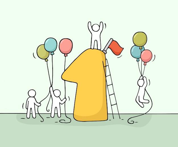 Esboço de pessoas pequenas que trabalham com o número um, balões.