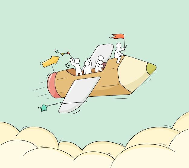 Esboço de pessoas trabalhando com ilustração a lápis voando