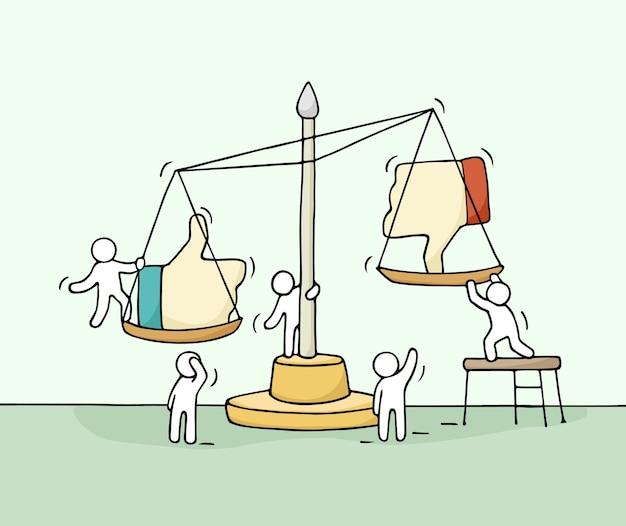 Esboço de pessoas trabalhando em escala.