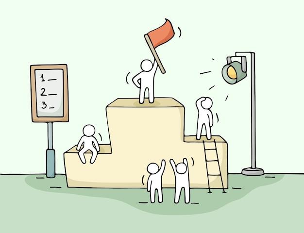 Esboço de pessoas trabalhando pouco com pedestal, trabalho em equipe. doodle a cena em miniatura fofa dos trabalhadores se preparando para a cerimônia.