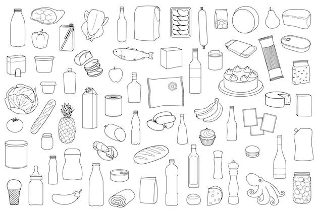 Esboço de produto alimentar definido em fundo branco página para colorir com refeição
