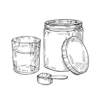Esboço de proteína de colágeno em pó. frasco de mão desenhada. meça a colher e o copo de água.