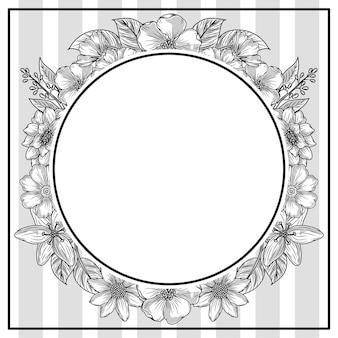 Esboço de quadro redondo de folhagem de flores