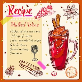 Esboço de receita de vinho quente