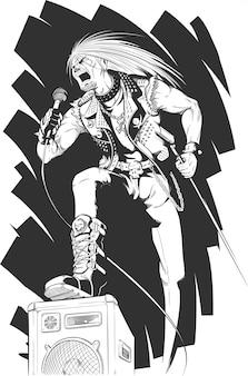 Esboço de rocker cantando em concerto