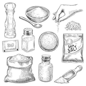 Esboço de sal. mão desenhada colher, tigela e saco com cristais de sal para banho ou cozinhar. saleiro e braço com especiarias, conjunto de vetores de gravura. esboce a colher com ilustração de sal, tigela e agitador