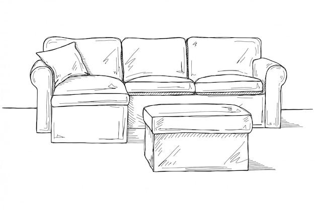 Esboço de sofá com pufe
