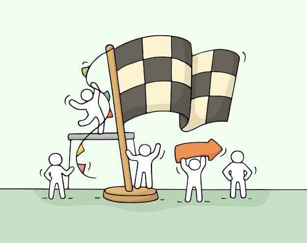 Esboço de trabalhar pessoas pequenas com bandeira de chegada