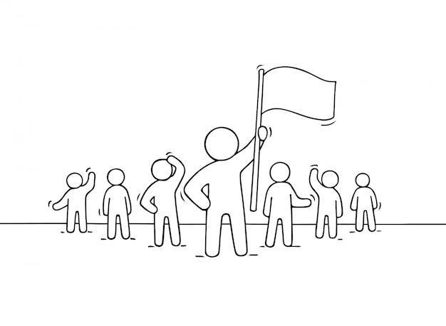 Esboço de trabalhar pessoas pequenas e líder com bandeira.