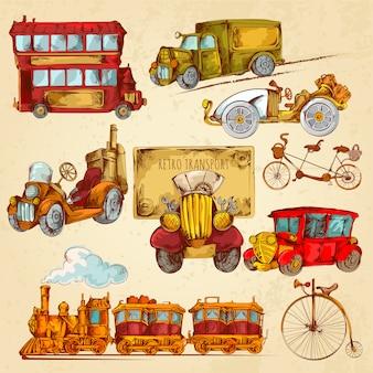 Esboço de transporte vintage colorido